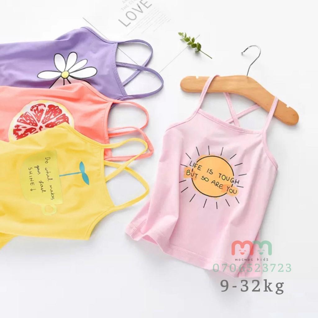 Đồ mặc hè [GIÁ SỐC] quần áo trẻ em mocmockids, combo 4 áo thun 2 dây bé gái dễ thương mát mẻ, thun cotton mịn co dãn