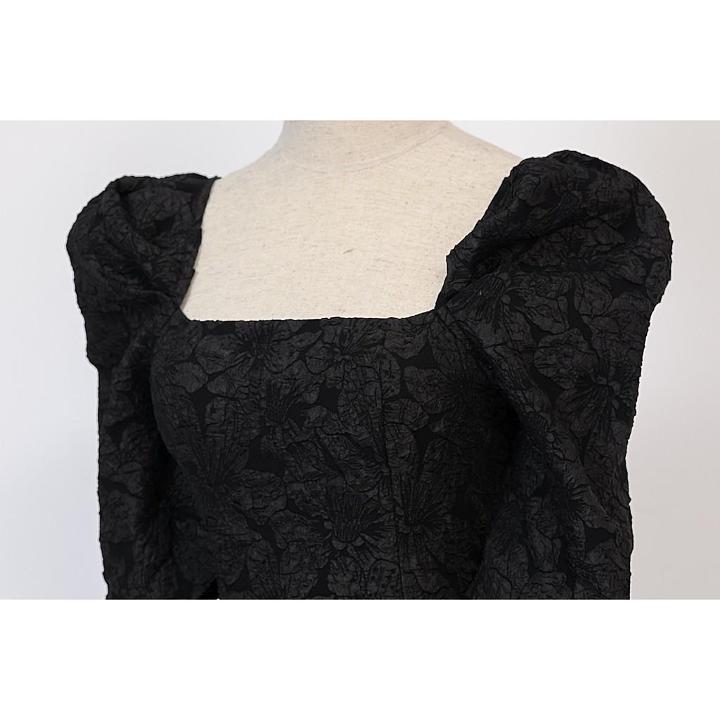 Mặc gì đẹp: Sang chảnh với Đầm dự tiệc cổ vuông tay bồng màu trắng/đen/nâu sang trọng chất xốp cao cấp giá rẻ - Thời trang SHOPLORA