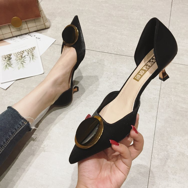 Teenage high heels women pointed shallow mouth buckle sexy ins single shoes