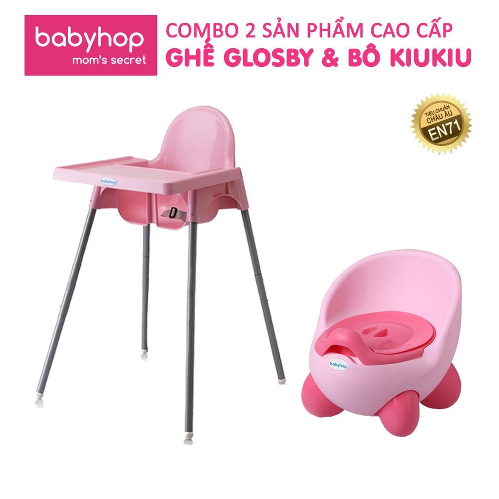 Combo ghế ăn dặm glosby chân điều chỉnh + bô vệ sinh kiu kiu babyhop cho bé (BH 12 tháng)