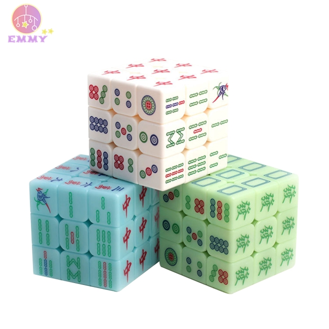 Zcube Luminous Mahjong 3x3x3 Magic Cube Speed Puzzle Game Cubes Educational Toys for Children Kids