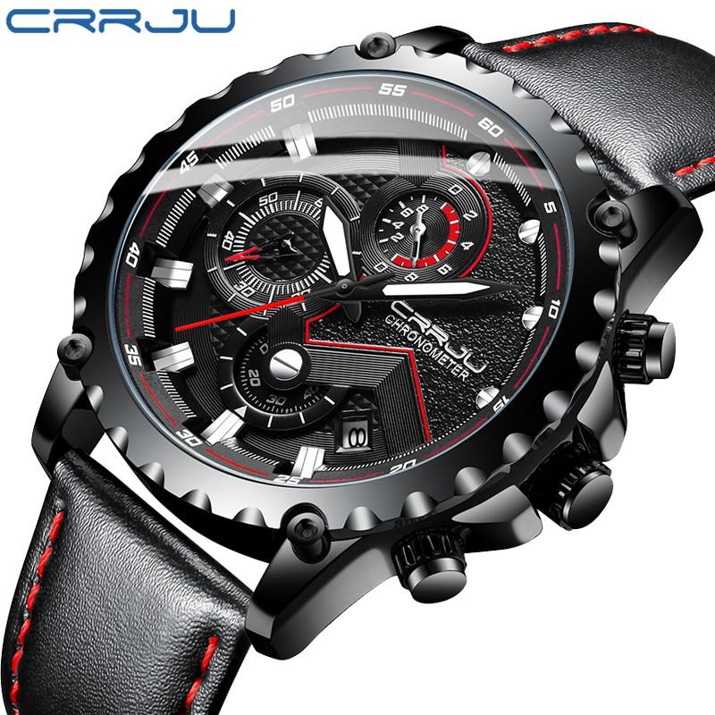 Đồng hồ thạch anh CRRJU 2158 dây da chống thấm nước phong cách thể thao sang trọng cho nam