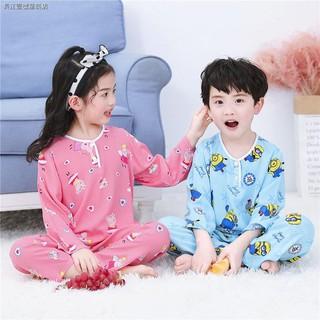 Bộ Đồ Ngủ Cotton Tay Dài Thoáng Mát Xinh Xắn Cho Bé Trai