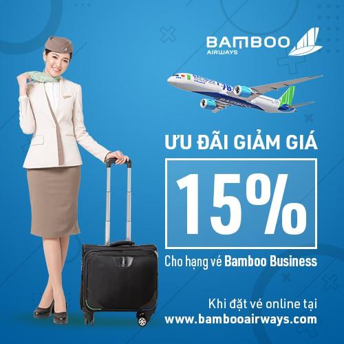 Hội Viên Mới [E-Voucher] Giảm 15% hạng vé Bamboo Business tại website Bamboo Airways