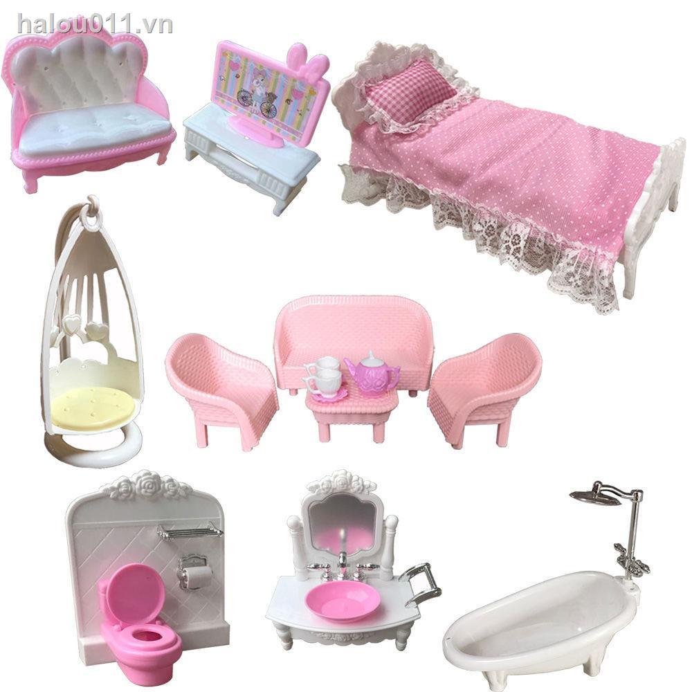 Stock♕☂⊕Phụ kiện đồ chơi búp bê Barbie 17cm Giường ngủ phong cách Châu Âu bồn rửa mặt bồn tắm ghế sofa treo TV Quà Tết