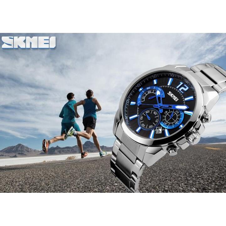 Đồng hồ nam SKMEI 9108 dây thép không gỉ chạy Full 06 kim (2 màu Đen, Trắng )