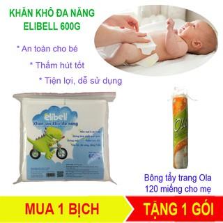 [MUA 1 TẶNG 1] Khăn khô đa năng Elibell 600g – An toàn khi sử dụng cho bé