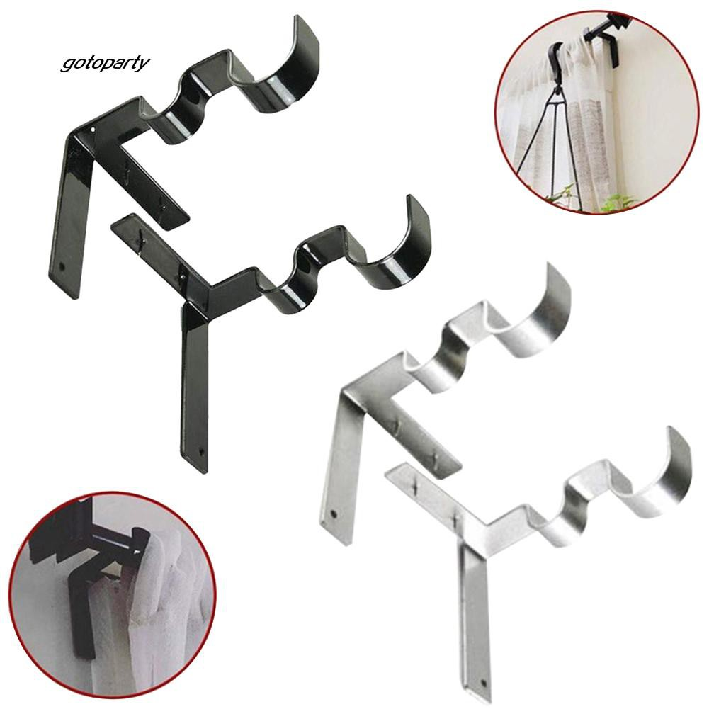 GOTO_2Pcs/Set Stainless Steel Double Curtain Rod Holder Wall Bracket Fixing