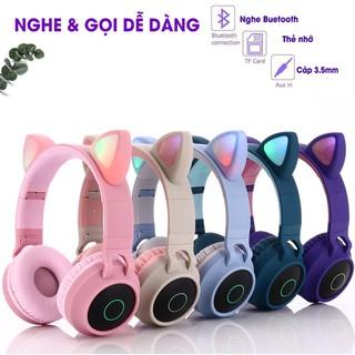Tai Nghe Mèo Bluetooth Headphone Tai Mèo Dễ Thương Có Mic Âm Bass Mạnh Mẽ Và Dung Lượng Pin Khủng 400mAh