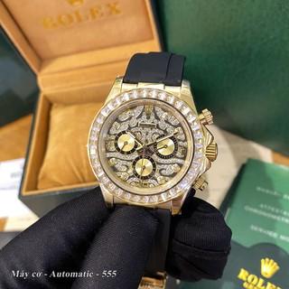 Đồng hồ nam Rolex mặt tròn vằn đính viền đá sang trọng chống nước bảo hành 12t DH555 - Shop306 thumbnail