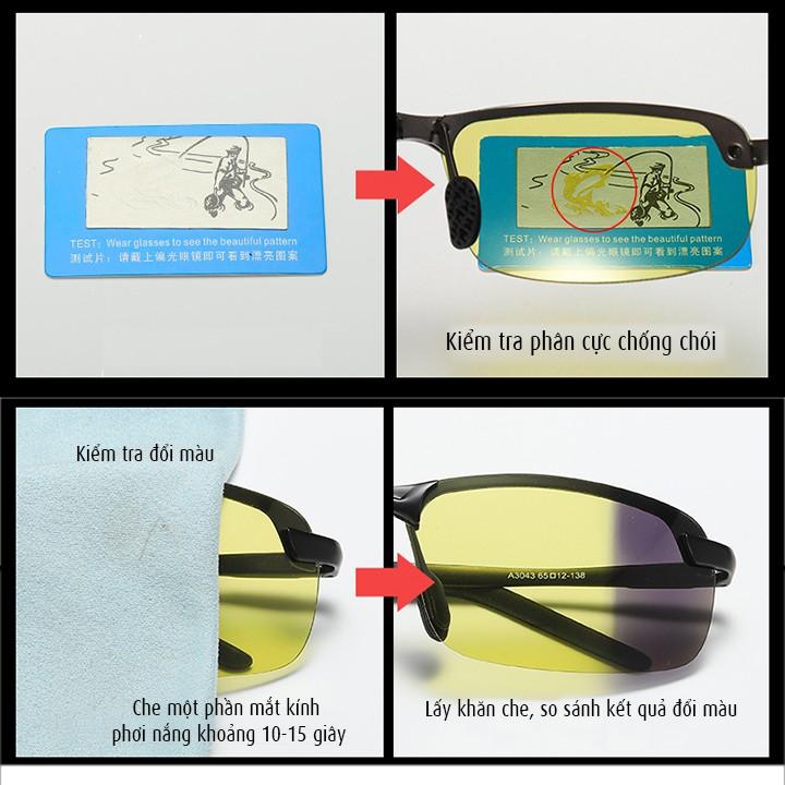 Kính đổi màu đi ngày và đêm gọng kim loại nhẹ, polarized phân cực, chống tia UV - Mã số:...