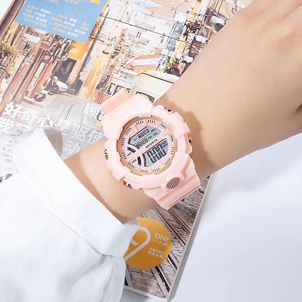 Đồng hồ điện tử nam nữ AOSUN Q121 màu hồng nhạt mẫu mới J820