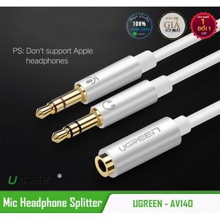Cáp kết nối tai nghe có Mic với Laptop có 2 cổng Headphone và Mic riêng biệt