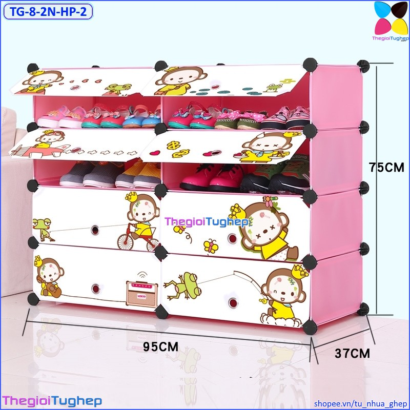 Tủ giầy nhựa lắp ghép 8 ô, 2 cột , cửa hình khỉ, để được 12 đôi giày (màu: Hồng phấn, Vàng trơn, Xanh dương)