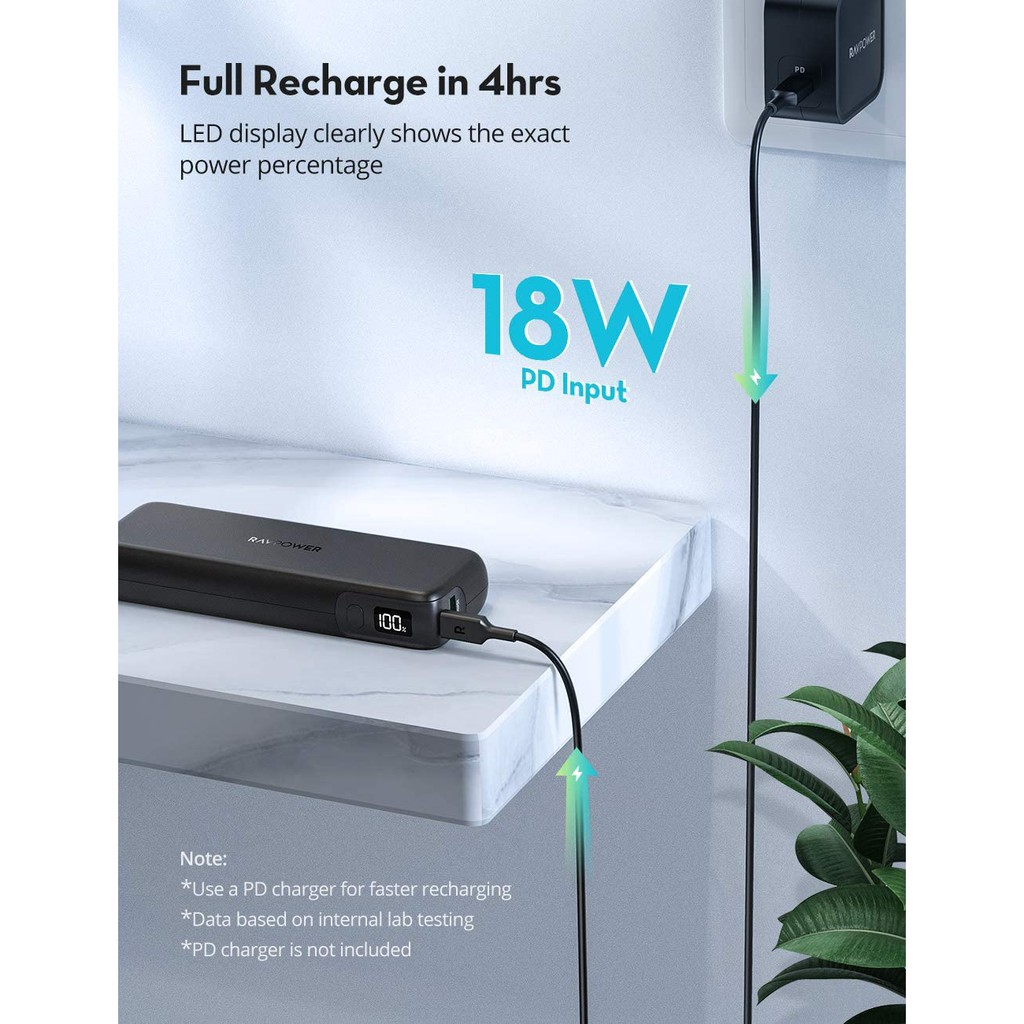 Sạc dự phòng RAVPower 15000mAh - 30w (PD3.0 18w - USB 12w) (RP-CPBN003)