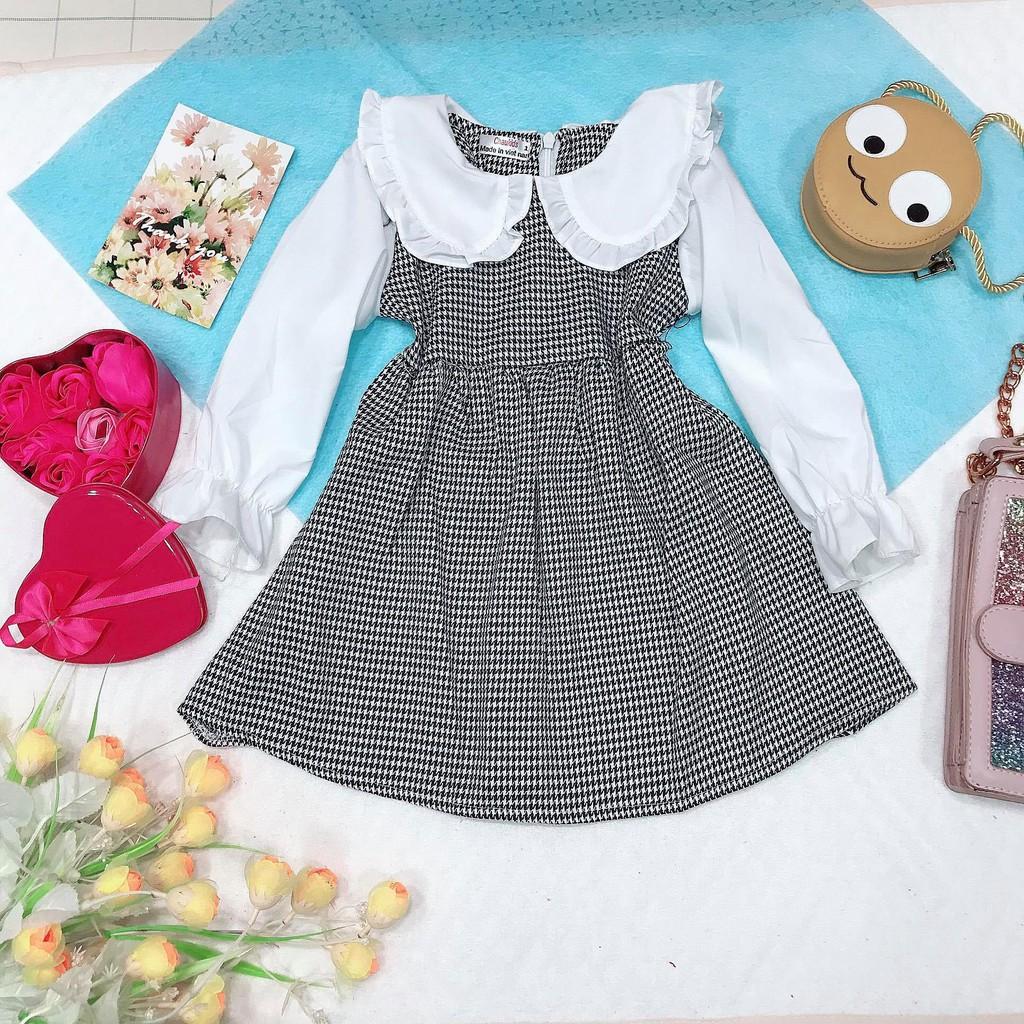 Đầm váy bé gái dài tay, đầm xòe caro đen cổ sen cho bé từ 10kg đến 22kg