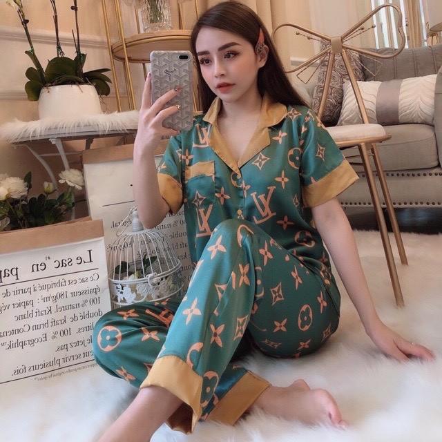 Đồ bộ mặc nhà pijama nữ lụa satin Tay Ngắn Quần Dài FREESIZE dưới 60kg (CAM KẾT HÀNG CHUẨN HÌNH)