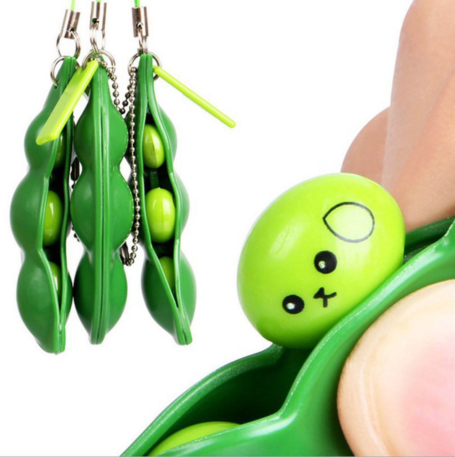 Fidget Toys Decompression Edamame Toys pop it Squishy Squeeze Peas Beans Keychain Cute Stress Adult Toy Rubber Boys Xmas Gift