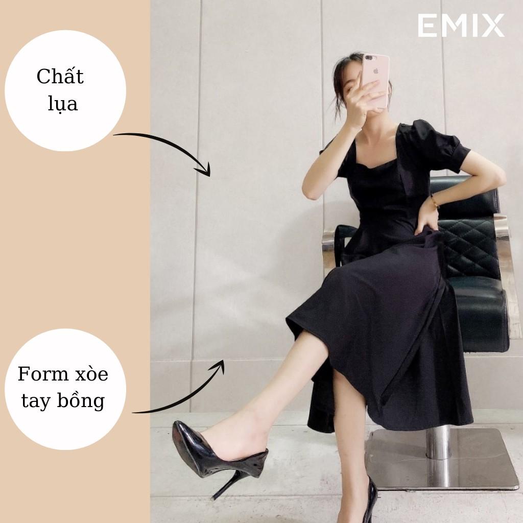 Mặc gì đẹp: Sang trọng với Đầm công sở nữ cổ vuông EMIX (3 màu), cộc tay, tay bồng, chất lụa nhẹ cao cấp, ít nhăn, không bai màu, không lộ