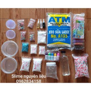 Kit slime đầy đủ làm các loại slime tặng kèm 1 set 5 lọ màu
