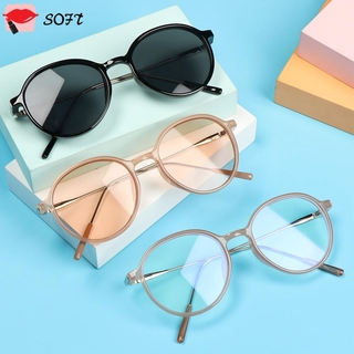 SOFTNESS Fashion Anti-Blue Light Glasses Vintage Eye Protection Eyeglasses Portable Women Men Computer Round Ultra Light Frame