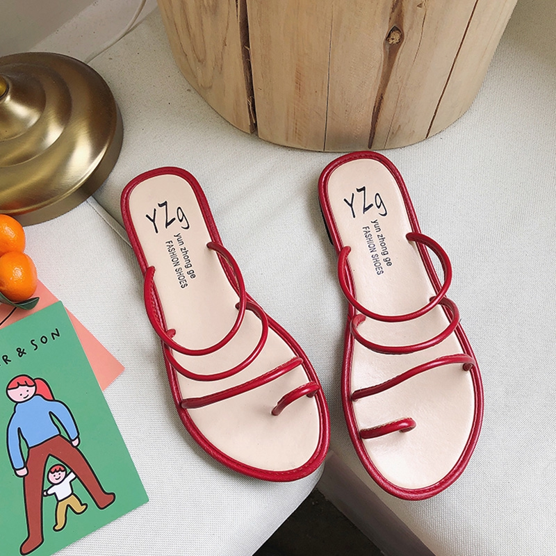 ♈◙❡Slipper son cute ins cool drag flat bottoms wearing 2019 summer new minimalist fashion croisser-toed Roman wind