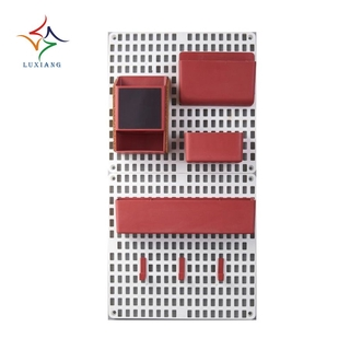"""in stock""Wall Mount Pegboard Combination Home Kitchen Storage Shelving Organizer No Punching Peg Board Rack -Red"