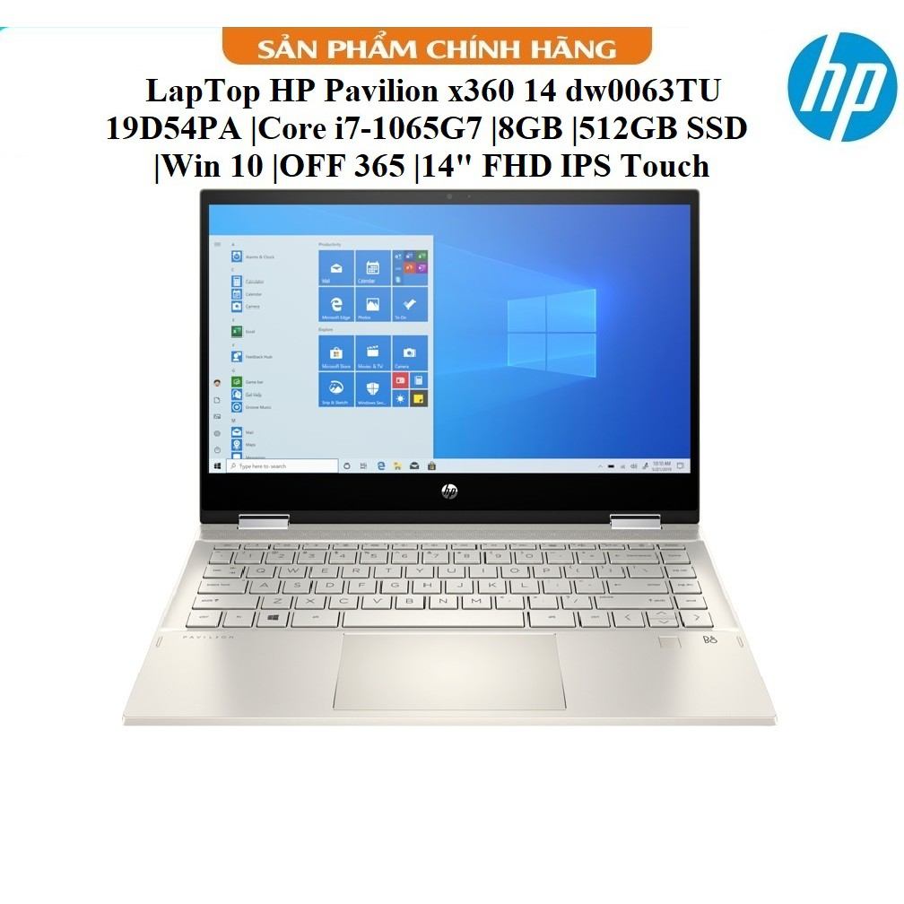"LapTop HP Pavilion x360 14 dw0063TU - 19D54PA |Core i7-1065G7 |8GB |512GB SSD |Win 10 |OFF 365 |14"" FHD IPS Touch"