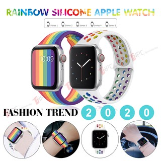 🅣🅡🅔🅝🅓 ➋⓿➋➊ Dây Apple Watch Cao Su Thể Thao Thời Trang RainBow Series SE/6/5/4/3/2/1 [ 38mm 42mm 40mm 44mm ]