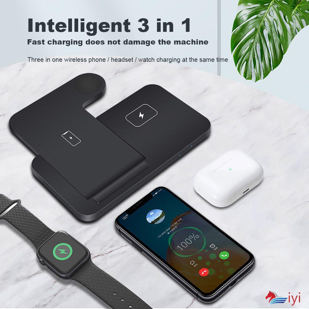 Đế Sạc Nhanh Không Dây 3 Trong 1 15w Cho Iphone 11 Xs Xr 8 Apple Watch Se 6 5 4 3 2 Airpods Pro