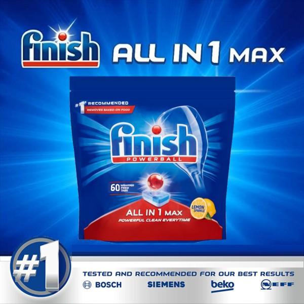 Viên rửa bát finish all in 1 max 60 viên hương chanh dùng cho máy rửa bát