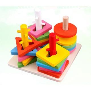 Bộ đồ chơi cột gỗ hình học xoay 3D cho trẻ – đồ chơi giáo dục
