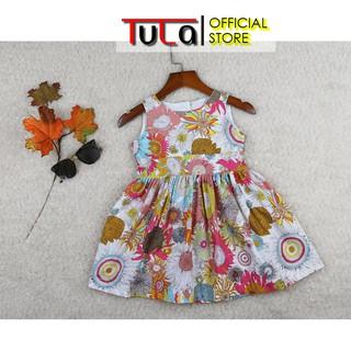 Váy Đầm Cho Bé Gái Họa Tiết Hoa Hoa Hướng Dương Cực Xinh Vải Thô Hàn Quốc