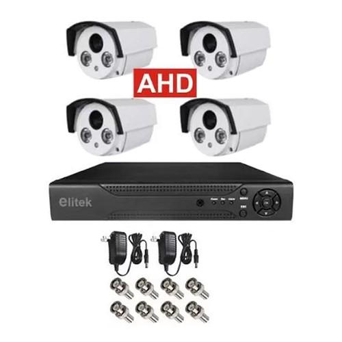 Bộ 4 Camera Thân Ngoài Trời 50913 + Đầu Ghi Elitek 4 Kênh (Không Kèm ổ cứng)