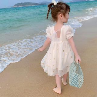 Đầm xòe công chúa phối ren xinh xắn cho bé gái