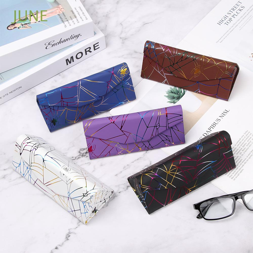 JUNE Travel Office Waterproof Folding Spider Pattern Portable Triangle Glasses Box