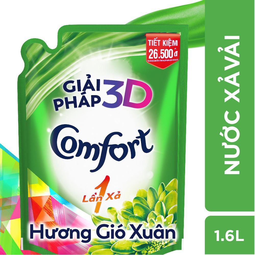 Nước xả vải Comfort 1 Lần Xả Hương Gió Xuân túi 1.6L