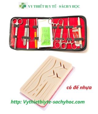 Bộ tiểu phẫu 12 món ( có đèn soi tai ) kèm miếng khâu da đế cứng