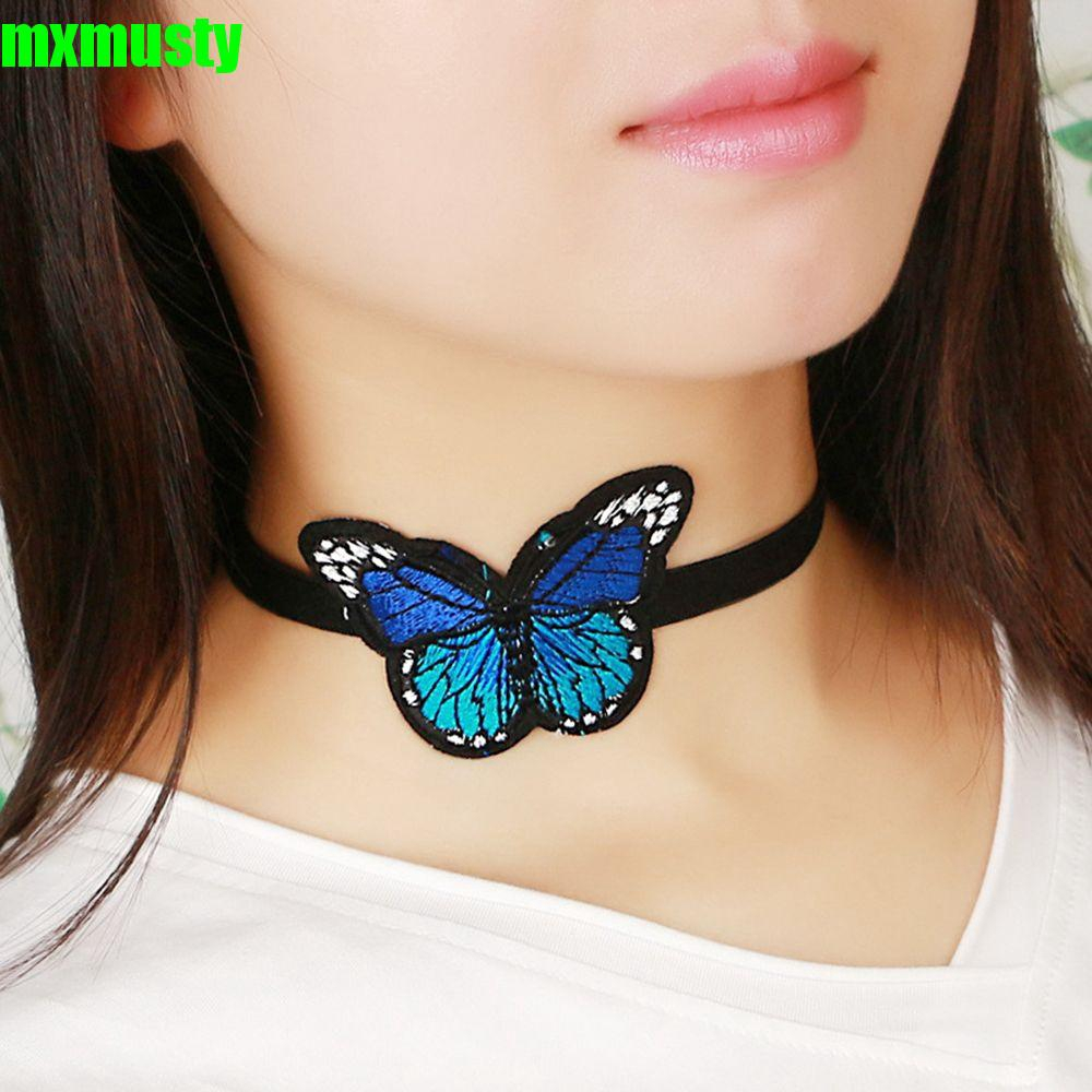 MXMUSTY Personalized Handmade Statement Fashion Women Jewelry Embroidery Blue Butterfly Necklace
