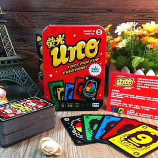 Luminous UNO Playing Cards Game With Metal Box