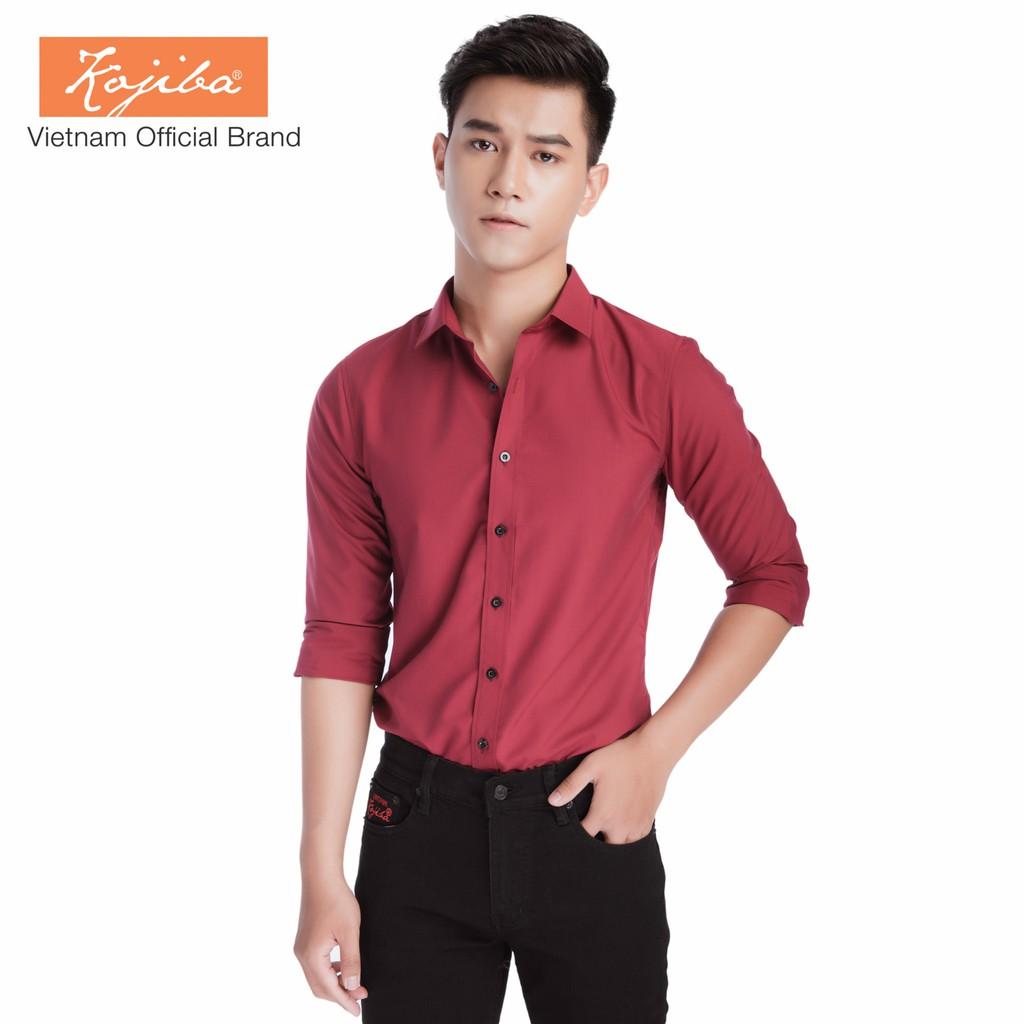 Sơ mi nam màu đỏ đô cao cấp, vải cotton 65% mát mẻ
