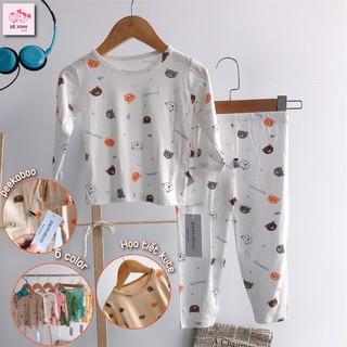 Bộ đồ ngủ thu đông dài tay cho bé gái bé trai Peekaboo [Hàng loại 1] đồ bộ tay dài thun lạnh họa tiết gấu bé gái bé trai