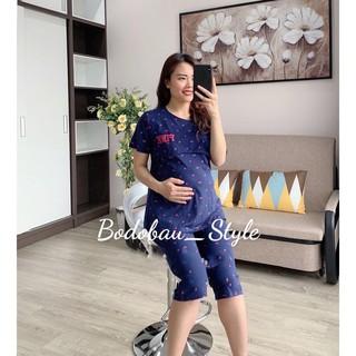 Bộ bầu và sau sinh LỬNG PINK lật ti cho mẹ bầu mặc nhà và cho con bú chất cotton đẹp mềm mại co giãn