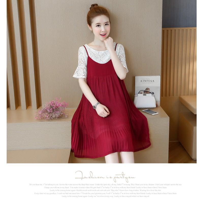 Đầm Bầu - Sét Váy Kiểu Dáng Hàn Quốc Xếp Ly Cao Cấp (Đỏ)