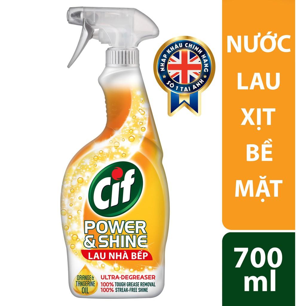 Chai xịt tẩy rửa nhà bếp Cif Power & Shining 700ml
