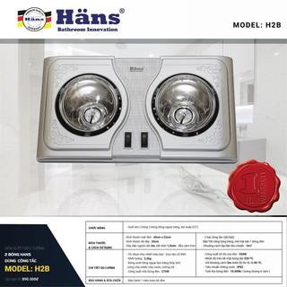 Đèn sưởi hồng ngoại nhà tắm Hans 2 bóng trắng - H2B - Bảo hành 12 tháng