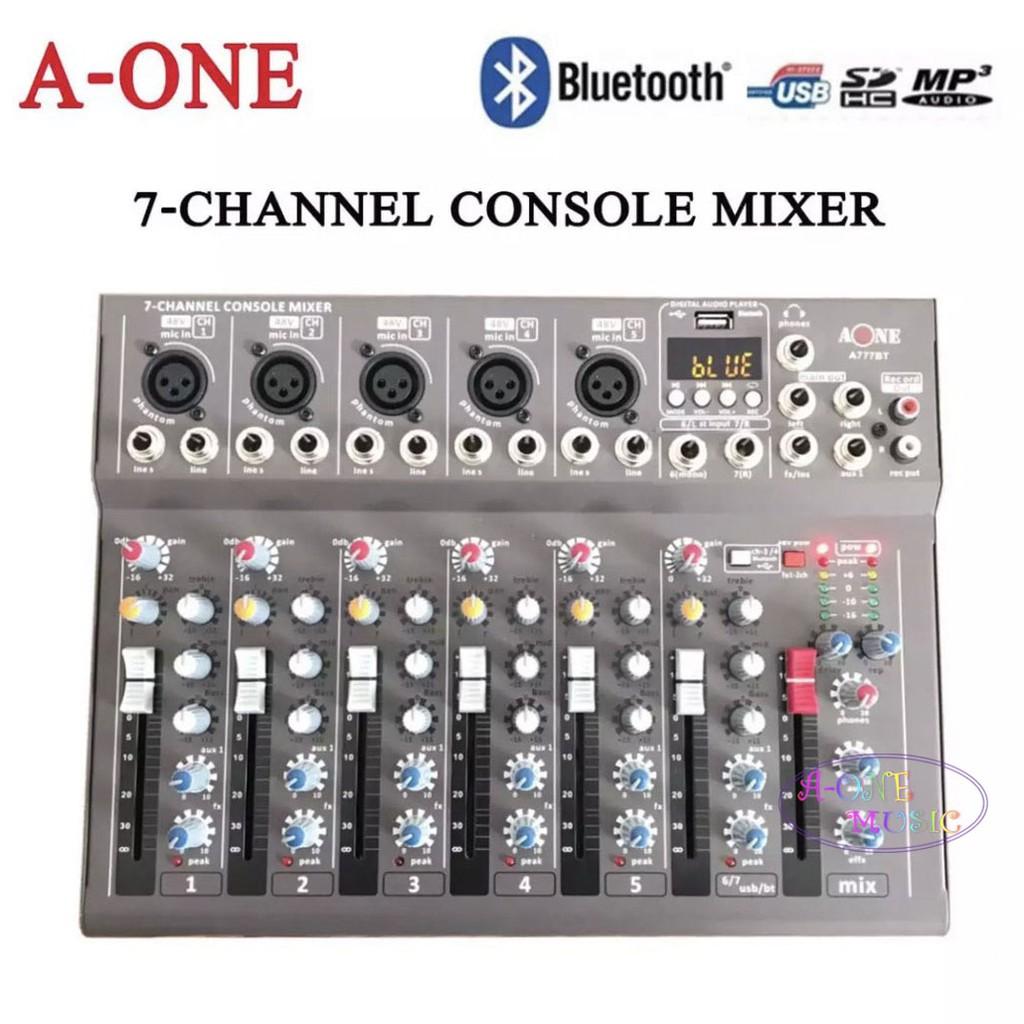 A-ONE มิกเซอร์ 7ช่อง Live Mixing Studio Audio Sound Mixer Console USB ฺBLUETOOTH รุ่น A-777BT รุ่นใหม่ล่าสุด