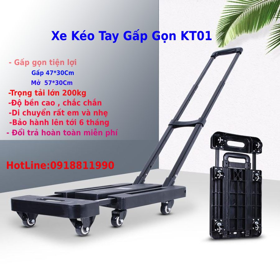 Xe Kéo Tay Nhập Khẩu Gấp Gọn 200kg -XKT01