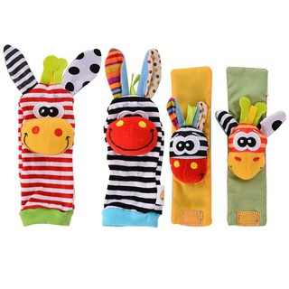AD Baby Cute Wrist Rattles Hands Foots Baby Infant Soft Toy Developmental Puzzle