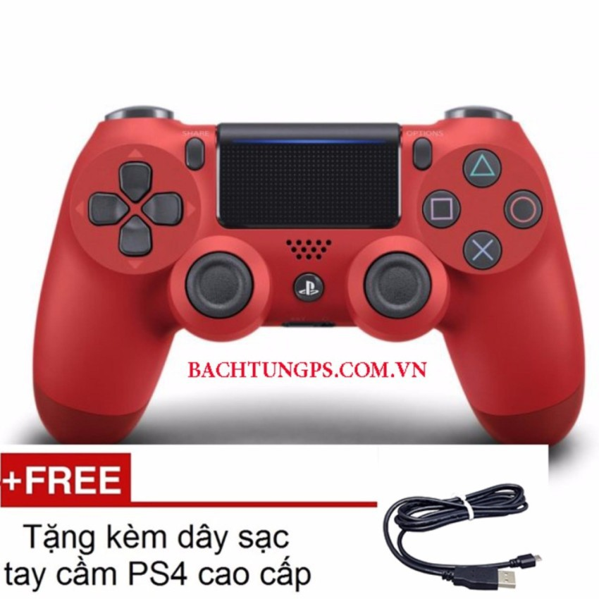 Tay cầm PS4 Slim đỏ - Dualshock 4 (RED) CUH ZCT2 tặng kèm dây sạc tay cao cấp cho PS4